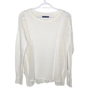 American Eagle Outfitters white cable knit sweater